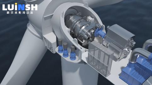 风电发电机三维工业动画 (C4D三维动画)